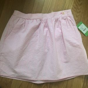 Linen pink and white stripe skirt. New
